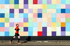 Running man (Eric Dufour Photographies) Tags: minimalism facade wall running man shapes square multicolors colors colorful jogging run building architecture minimalist