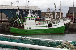 The Irish twin-rig trawler Connaught Ranger, G 47; Howth Harbour, Dublin, Ireland