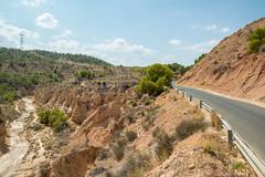 Desertic landscape. (Azariel01) Tags: 2018 espagne españa spain murcia gebas barrancosdegebas arid aride desertique desertic dry sec pins pines nuages clouds vallée valley road route