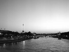Paris (csobie) Tags: paris france seine eiffel tower blackandwhite bronicasqa 80mmf28ps yellowfilter tmax 400 analog film mediumformat 120 scan epson v600 sunset dusk