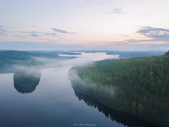 Beginning of the Day (laurilehtophotography) Tags: suomi finland jyväskylä vaajakoski koskenvuori water lake forest sunrise morning fog mist dji mavic pro fc220 clouds drone aerial photography nature landscape summer aamu kesä auringonnousu