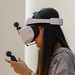 Young woman with a Huawei VR2 virtual reality headset