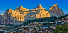 Navajo Dome Panorama (William Horton Photography) Tags: capitolreefnationalpark entradasandstone highway24 navajodome navajosandstone utah cliffs dawn dome geology horizontal morning sandstone sunrise torrey unitedstates us