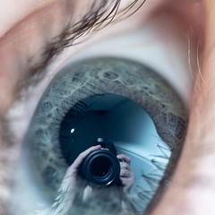 Accidental mirror selfie on a human eyeball (CarnivoreDaddy) Tags: eye reflection macro macrolens tamron tamron60mmf2 nikon manualfocus offcameralighting accidental selfie mirrorselfie