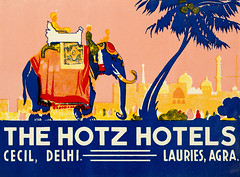 A vintage luggage label for the Cecil Hotel in Delhi and Lauries Hotel in Agra, India - The Hotz Hotels - Major Robert Eric Hotz obituary- https://www.himalayanclub.org/hj/58/20/in-memoriam-13/ (thstrand) Tags: 1920s 1930s 1940s 19thcentury 20thcentury adventure advert advertise advertisement advertising agra animals art arts artwork asia blueyellowredandorangecolors bobhotz bobbyhotz brightcolors business cecil colorful comfort delhi elephant elephants florencehotz geographycountries graphicarts graphicdesign historic historyoftravel hotels illustration illustrations india indian labels laurieshotel luggagelabel luxury mammals nobody roberterichotz steamertrunks sticker stickers suitcase suitcases swiss text thehotztrust tourism touristdestination transport transportation travel traveldestinations traveler travelers trunk trunks type visualarts wildlife