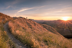 Path to the Sun (Heather_K_Jones) Tags: view landscape sunset sunstar nature tematapeak tourist bluesky man hawkesbay newzealand travel scenic scenery horizontal touristattraction mountain