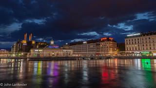 Geneva city during blue hour