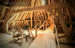 Chateau de Fargeau (ChristineGibbs) Tags: canoneos6 eos canon canonef24105mm france northfrance chateau chateaudefargeau puisaye stfargeau stfargeauenpuisaye attic roof timbers machinery walkway wooden wood loft