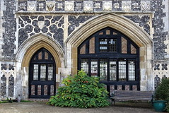 Butley Priory gatehouse (14th C.), Butley, Suffolk, England (Spencer Means) Tags: butley priory abbey suffolk eastanglia flushwork tracery door doorway arch bench window gothic medieval decorated england uk gb front facade north entrance molding moulding