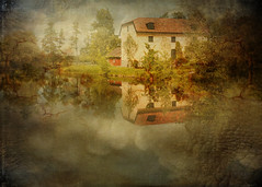 House at the water (BirgittaSjostedt-Thanks for 10 million views.) Tags: house mansion water river scene paint painting old garden nature texture
