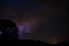 Ca gronde... (Mare Crisium) Tags: nuit night orage thunder silhouette nuages clouds eclair lighting tree arbre stars etoiles blue bleu groupenuagesetciel