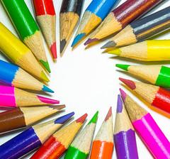 Spectrum (grbush) Tags: macromondays multicolor multicolour colours pencils stationery closeup spectrum rainbow circle sonyilce7 tamronaf90f28disp highkey macro macromonday colors