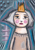 Aceo Original Mixed Media Painting Girl Wearing Crown (Roxanne Handelong (They Come Along)) Tags: art aceo aceoart painting aceopainting girl girlart girlaceo miniatureart miniaturepainting myart acrylicpaint mixedmedia acrylic coloredpencils whimsical