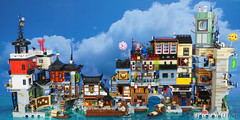 The back of my Ninjago City, with expansions. (Brick.Ninja) Tags: lego ninjago modular cyber punk custom model city