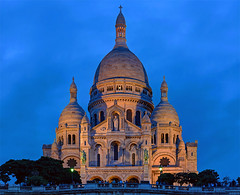 A Parisian Journey # 16 (Sacre Coeur) (Aubrey Stoll) Tags: church basilica sacred heart paris sacre coeur jesus montmarche hill france blue hour night towers montmartre cross religion christianity christian landmark high lighting illuminated sky trees people tourist attraction