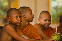 Whatever - Students in Cambodia (hkokko) Tags: cambodia siemreap bored boy canon5dmarkiv monastery monk orange school students travel whatever