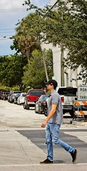 Man in street (LarryJay99 ) Tags: lakeworth florida streets man men guy guys dude male studly manly dudes handsome facialhairgoatee beard bluejeans tornjeans profile walking faded street urban urbannomad hotman arms mustasche masculine masculinegaze