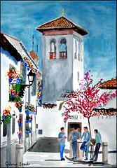The Mosque, Granada, Spain, watercolour (Dr Graham Beards) Tags: albaicin andalucia architecture alhambra granada mosque spain watercolor watercolour