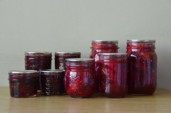 Pickled Italian Plums and Strawberry Kiwi Jam (osiristhe) Tags: canning preserving sweet