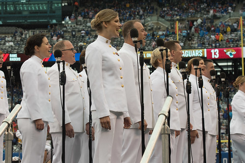 NFL opening day halftime show in New York with the Navy Band Sea Chanters chorus