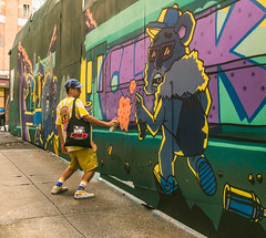 cloakwork (trebandicoot (Lynn)) Tags: 35mmfocallength bsaf2018 leadinglines streetphotography cloakwork streetart brisbane australia fortitudevalley festival duel paint street art queensland mural artist