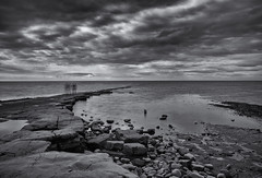 The watchers (DaneGardner) Tags: dorset blackandwhite kimmeridgebay jurassiccoast cloudsstormssunsetssunrises clouds