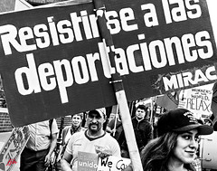 IN YOUR FACE . . . (panache2620) Tags: protest march photojournalism immigration deportation monochrome blackandwhite bw unrest documentary photodocumentary injustice hispanics immigrants americans righteousanger crowds crowd people