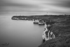 New Flamborough Light House (AndyNeal) Tags: landscape seascape cliffs water sky beach blackandwhite monochrome longexposure neutraldensityfilter movement cloudmovement watermovement milkywater milkysea flamborough new lighthouse caves sea