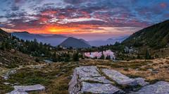 Laghetto dei Saléi (PhiiiiiiiL) Tags: laghetto dei saléi ticino switzerland sunrise panorama schweiz burning sky mountain lake nikon d810 landscape tessin valle onsernone hiking locarno clouds