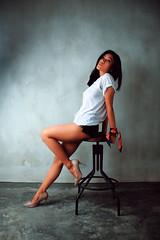 inside white (simpangcandidstudio) Tags: woman asianwoman pose model fashionmodel sitting fashion style studiolight short whiteshirt white