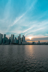 Sunset by the river (JJPeektures) Tags: singapore skyline skyscrapper city buildings financial business district banks sunset sun orange blue hotel luxury