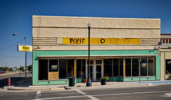 Pixie Store (Orson Wagon) Tags: newmexico jc penney small store commercial block sign color town city