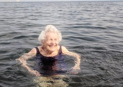 Happy in Lake Superior. (yooperann) Tags: old woman swimming smiling grin lake superior upper peninsula michigan founders landing marquette great lakes summer