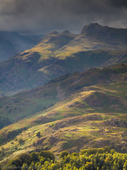 Light on the Langdales (Michael Sowerby Photography) Tags: landscape landscapephotography lakedistrict cumbria langdale langdalepikes storm light golden clouds cloud greatlangdale loughrigg mountains fells trees dramatic weather view