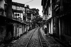 Hanoi Tracks (Rod Waddington) Tags: vietnam vietnamese hanoi train tracks houses urban blackandwhite monochrome mono cityscape city culture cultural outdoor railway