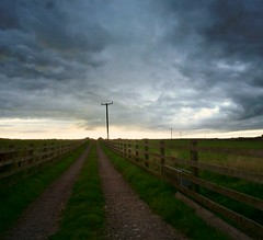 Country Lane (matthewblackwood10) Tags: country lane farm field pasture grass green track road fence cloud sky clouds storm stormy sun sunset set setting scotland crawton uk aberdeenshire