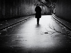 rainy day (Sandy...J) Tags: rain regen regenschirm umbrella urban noir atmosphere alone germany deutschland light shadow walking blackwhite bw street streetphotography sw schwarzweis strasenfotografie stadt city autumn herbst monochrom mono women mood stimmung