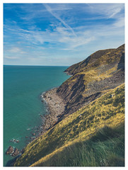 On the Southwest Coast Path. (Ian Emerson (Thanks for all the comments and faves) Tags: somerset coast coastline seascape calmness sea cliffs rugged landscape outdoor canon 6d clouds england scenic hiking