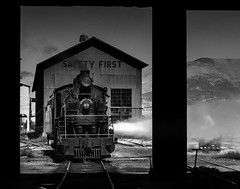 024693763756-104-Steam Locomotive-7-Black and White (Jim There's things half in shadow and in light) Tags: america ely nevada nevadanorthernrailwaymuseum southwest usa whitepinecounty history locomotive museum rail steam train monochrome blackandwhite