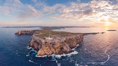 Cabo de Cavallería (Max W!nter) Tags: cavalleria lighthouse far faro cavodecavallería menorca drone panoramic panoramica mavicair cliffs fromabove island peninsula sunset leuchtturm light colourful fornells sea mar mediterranean balearicsbalearicislandsbalearsbalearesseptembercloudyskydeepblueedgearchitectureendlessruralparadisecliffhousewideopenspacetones