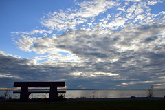 An open invitation (James_D_Images) Tags: bench empty open beach sky clouds evening sunset silhouette water ocean bay blue white crescentbeach britishcolumbia