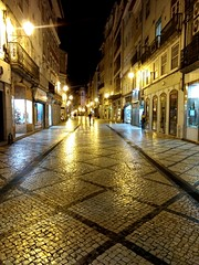 Streets of gold, Coimbra old town. (Greenstone Girl) Tags: coimbra night gold lights stone buildings narrowstreets