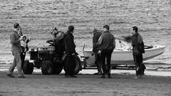 Autumn Afternoon at Portobello 029 (byronv2) Tags: sunny sunlight sunshine autumn portobello edinburgh edimbourg scotland coast coastal sea northsea firthofforth forth rnbforth river riverforth beach portobellobeach blackandwhite blackwhite bw monochrome peoplewatching candid stre yacht boat tractor tow towing