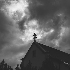 La gargouille (MEOT Youri) Tags: eglise church gargouille grimpeur climber bw nb équilibre sky ciel contrast