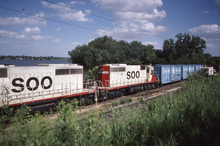 Soo Line SD40-2 #789 in Sabula IA on 6-3-87