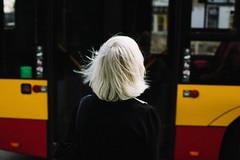 breeze (ewitsoe) Tags: 50mm canoneos6dii cityscape street erikwitsoe poland summer urban warsaw lady waiitngforthebus bus transit colorful warszwa pedestrian moment nostalgia frame woman polska olderlady greyhair whitehair crossing