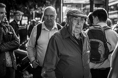 Homeward Bound (Leanne Boulton) Tags: people portrait urban street candid portraiture streetphotography candidstreetphotography candidportrait streetportrait candideyecontact eyecontact streetlife bustling crowd old elderly man male face faces expression mood feeling emotion commute commuting travel public transport tone texture detail depthoffield bokeh naturallight outdoor light shade city scene human life living humanity society culture lifestyle canon canon5dmkiii 70mm ef2470mmf28liiusm black white blackwhite bw mono blackandwhite monochrome edinburgh scotland uk