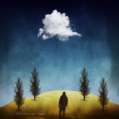 up that hill (Dyrk.Wyst) Tags: digital composite illustration trees cloud landscape textures concept surreal solitude male oneperson hill bird dreamy dark emotive trevillion similar