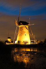 a windmill in the spotlights (Alex Chirila) Tags: canon 80d efs 15–85mm f35–56 is usm kinderdijk windmill windmills light painting night long exposure