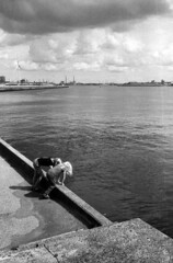 Peering On The Pier (selyfriday) Tags: selyfriday wwwnassiocomempty nassiocom leicacl leica cl 40mm film analogue kentmere400 wijkaanzee ijmuiden pier netherlands nederland holland dutch kids children